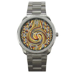 Gold Blue And Red Swirl Pattern Sport Metal Watch