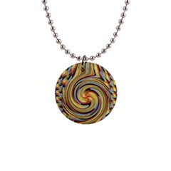 Gold Blue and Red Swirl Pattern Button Necklaces