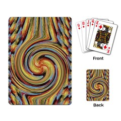 Gold Blue and Red Swirl Pattern Playing Card