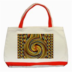 Gold Blue and Red Swirl Pattern Classic Tote Bag (Red)
