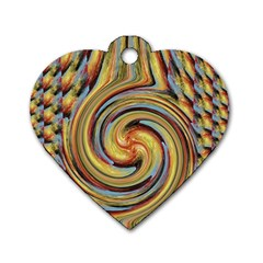 Gold Blue and Red Swirl Pattern Dog Tag Heart (One Side)