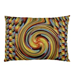 Gold Blue and Red Swirl Pattern Pillow Case