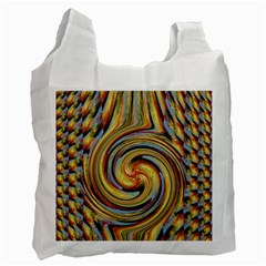 Gold Blue And Red Swirl Pattern Recycle Bag (one Side)