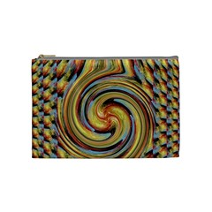 Gold Blue And Red Swirl Pattern Cosmetic Bag (medium)