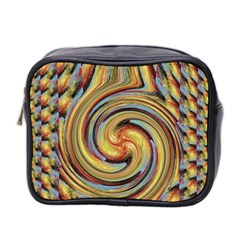 Gold Blue And Red Swirl Pattern Mini Toiletries Bag 2 Side