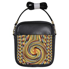 Gold Blue And Red Swirl Pattern Girls Sling Bags