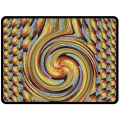 Gold Blue And Red Swirl Pattern Fleece Blanket (large)