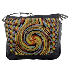 Gold Blue and Red Swirl Pattern Messenger Bags