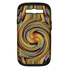 Gold Blue And Red Swirl Pattern Samsung Galaxy S Iii Hardshell Case (pc+silicone)