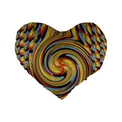 Gold Blue And Red Swirl Pattern Standard 16  Premium Heart Shape Cushions