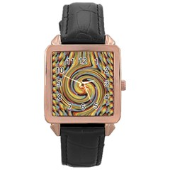 Gold Blue And Red Swirl Pattern Rose Gold Leather Watch
