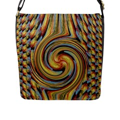 Gold Blue and Red Swirl Pattern Flap Messenger Bag (L)