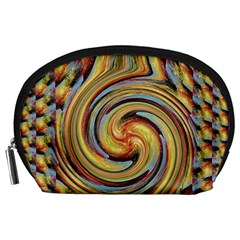 Gold Blue and Red Swirl Pattern Accessory Pouches (Large)