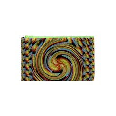 Gold Blue And Red Swirl Pattern Cosmetic Bag (xs)