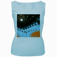 Sun Ray Swirl Design Women s Baby Blue Tank Top