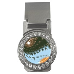 Sun-Ray Swirl Design Money Clips (CZ)