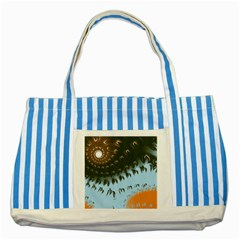 Sun-Ray Swirl Design Striped Blue Tote Bag