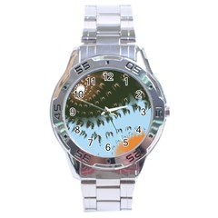 Sun-Ray Swirl Design Stainless Steel Analogue Watch