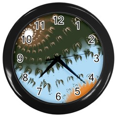 Sun-Ray Swirl Pattern Wall Clocks (Black)