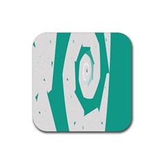 Aqua Blue And White Swirl Design Rubber Square Coaster (4 Pack)