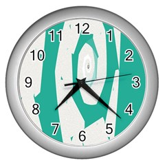 Aqua Blue and White Swirl Design Wall Clocks (Silver)