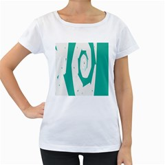 Aqua Blue and White Swirl Design Women s Loose-Fit T-Shirt (White)