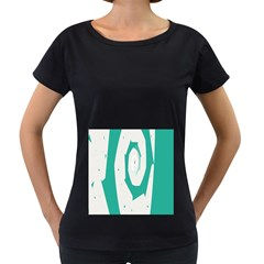 Aqua Blue and White Swirl Design Women s Loose-Fit T-Shirt (Black)