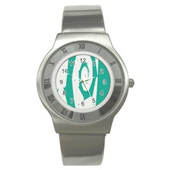 Aqua Blue And White Swirl Design Stainless Steel Watch