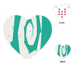 Aqua Blue And White Swirl Design Playing Cards (heart)