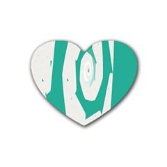 Aqua Blue And White Swirl Design Rubber Coaster (heart)
