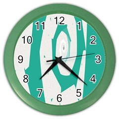 Aqua Blue And White Swirl Design Color Wall Clocks