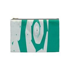Aqua Blue And White Swirl Design Cosmetic Bag (medium)