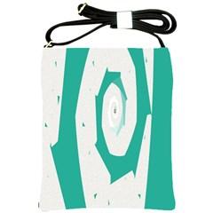Aqua Blue And White Swirl Design Shoulder Sling Bags