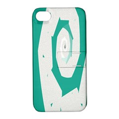 Aqua Blue And White Swirl Design Apple Iphone 4/4s Hardshell Case With Stand