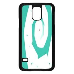 Aqua Blue and White Swirl Design Samsung Galaxy S5 Case (Black)