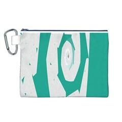 Aqua Blue and White Swirl Design Canvas Cosmetic Bag (L)