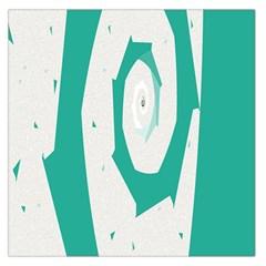 Aqua Blue and White Swirl Design Large Satin Scarf (Square)