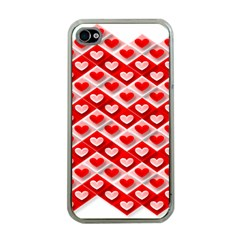 Love Hearts Valentine S Day Pink Apple iPhone 4 Case (Clear)