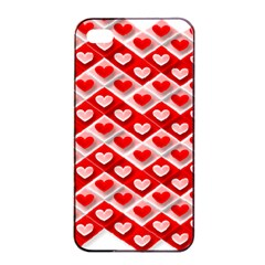 Love Hearts Valentine S Day Pink Apple iPhone 4/4s Seamless Case (Black)