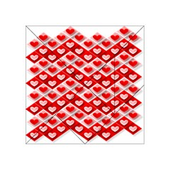 Love Hearts Valentine S Day Pink Acrylic Tangram Puzzle (4  x 4 )