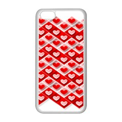 Love Hearts Valentine S Day Pink Apple iPhone 5C Seamless Case (White)