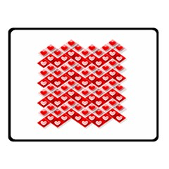 Love Hearts Valentine S Day Pink Double Sided Fleece Blanket (Small)