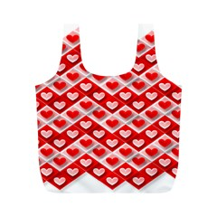 Love Hearts Valentine S Day Pink Full Print Recycle Bags (M)
