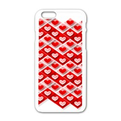 Love Hearts Valentine S Day Pink Apple iPhone 6/6S White Enamel Case