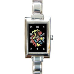Colorful abstract spot Rectangle Italian Charm Watch