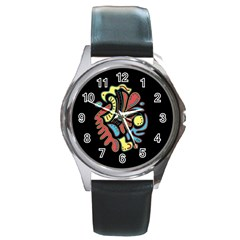 Colorful abstract spot Round Metal Watch