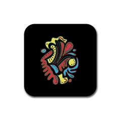 Colorful abstract spot Rubber Coaster (Square)