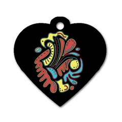Colorful abstract spot Dog Tag Heart (Two Sides)