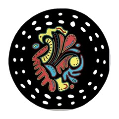 Colorful abstract spot Round Filigree Ornament (2Side)