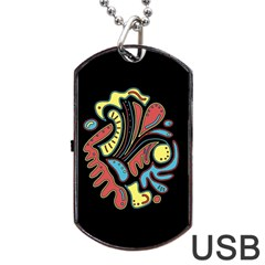 Colorful abstract spot Dog Tag USB Flash (Two Sides)